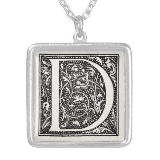 """Vintage Letter D Monogram Parchment """"D"""" Initials Silver Plated Necklace"""