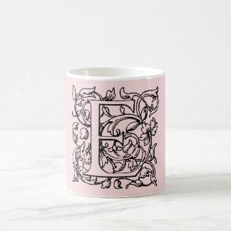 Vintage Letter E Monogram Light Pink Monogrammed E Classic White Coffee Mug