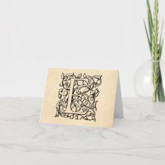 Vintage Letter E Monogram Yellow Parchment Note Card