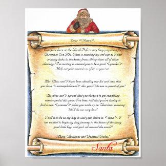 Vintage Letter from Santa Print