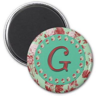 Vintage Letter G 2 Inch Round Magnet