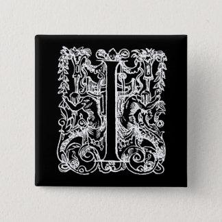 "Vintage Letter I Monogram Black White ""I"" Initials Button"