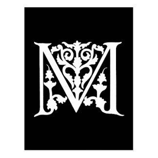 "Vintage Letter M Monogram Black White ""M"" Initials Postcards"