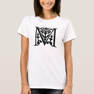 "Vintage Letter M Monogram Black White ""M"" Initials T-Shirt"