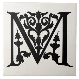 """Vintage Letter M Monogram Parchment """"M"""" Initials Ceramic Tile"""