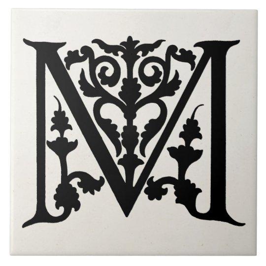 """Vintage Letter M Monogram Parchment """"M"""" Initials Tile ..."""