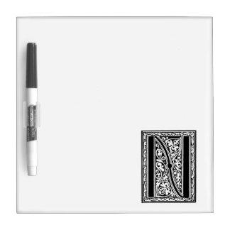"Vintage Letter N Monogram Black White ""N"" Initials Dry Erase Board"