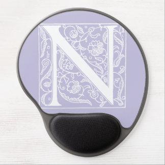 """Vintage Letter N Monogram Pale Purple Lavender """"N"""" Gel Mouse Pad"""