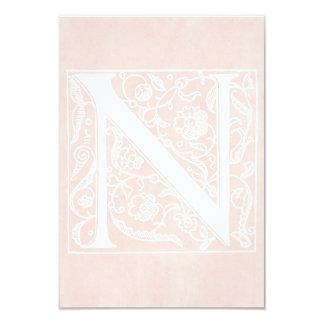 """Vintage Letter N Monogram Rose Pink Parchment """"N"""" Card"""