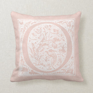 """Vintage Letter O Monogram Rose Pink """"O"""" Initials Throw Pillow"""