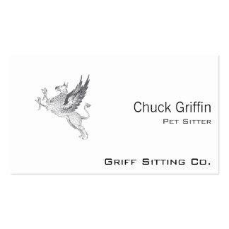 Vintage Letter Press Griffin Line Art Business Card