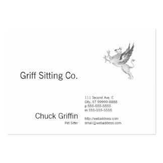 Vintage Letter Press Griffin Line Art Large Business Card