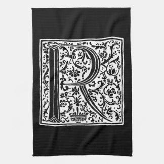 "Vintage Letter R Monogram Black White ""R"" Letters Hand Towels"