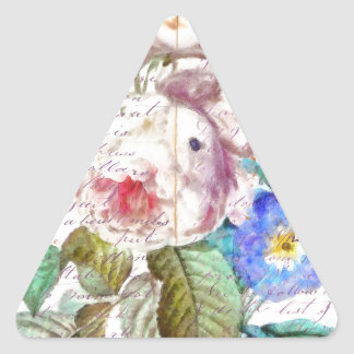 Vintage letter Rose Triangle Sticker