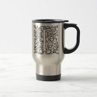 """Vintage Letter T Monogram Black White """"T"""" Initials 15 Oz Stainless Steel Travel Mug"""