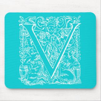 """Vintage Letter V Monogram Aqua Teal Neon Blue """"V"""" Mousepad"""