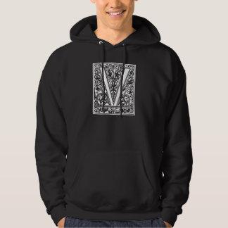 """Vintage Letter V Monogram Black White """"V"""" Initials Hoodie"""