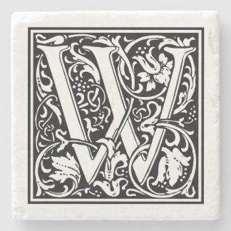 """Vintage Letter """"W"""" Stone Beverage Coaster"""