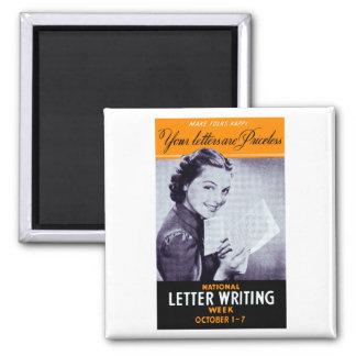 Vintage Letter Writing 2 Inch Square Magnet