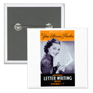 Vintage Letter Writing 2 Inch Square Button