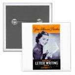 Vintage Letter Writing Pinback Button