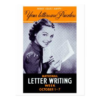 Vintage Letter Writing Postcard