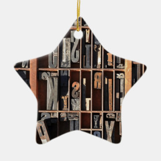 Vintage Letterpress Blocks Ceramic Ornament