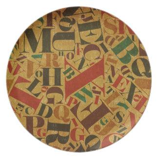 vintage letters texture plate