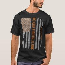 Vintage Leukemia Cancer Awareness American Flag T-Shirt
