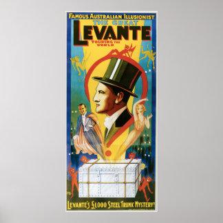 Vintage Levante Famous Australian Illusionist Poster
