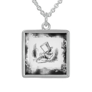 Vintage Lewis Carroll Mad Hatter B&W Sterling Silver Necklace