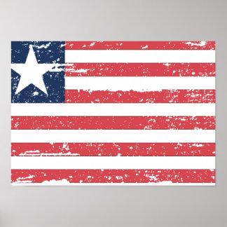 Vintage Liberia Flag Poster