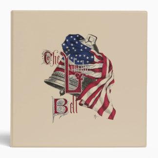 Vintage Liberty Bell y carpeta de la bandera