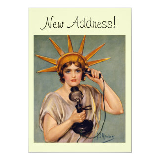 Vintage Liberty Calling New Home Announcement Card
