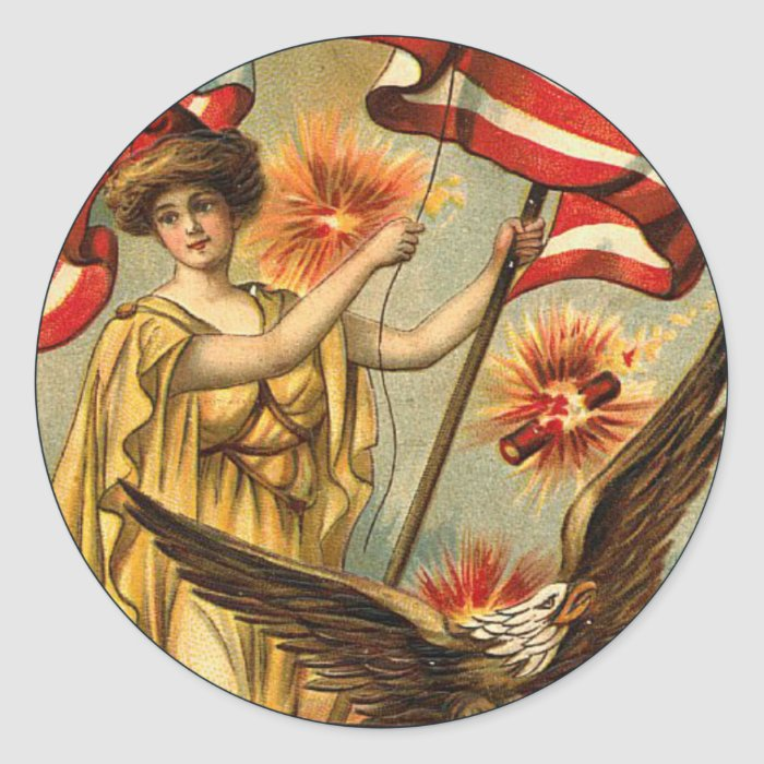 Vintage Liberty_Sticker Classic Round Sticker
