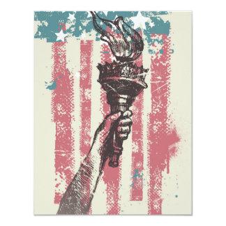 Vintage Liberty Torch & Flag Card