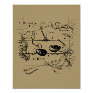 Vintage Libra Constellation Hevelius Style Flyer