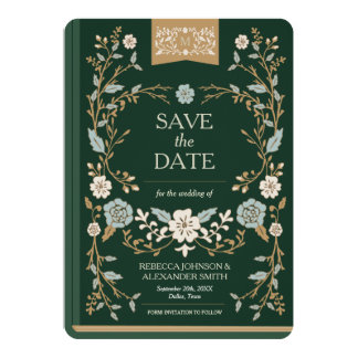 Vintage Library Book Save the Date Card