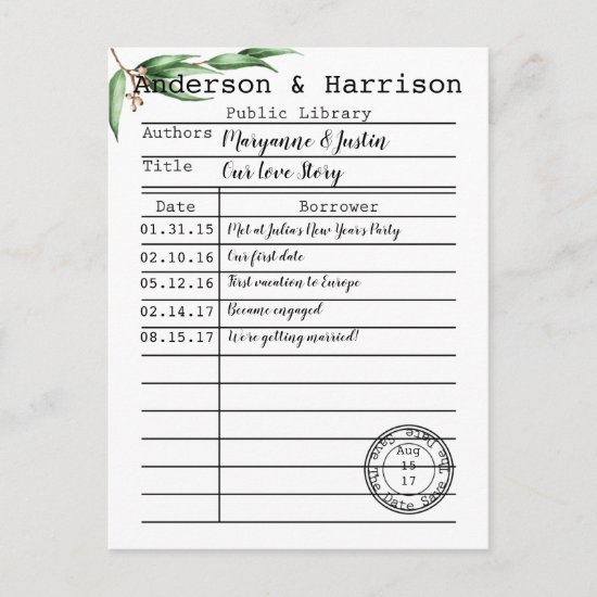 Vintage Library Card Botanicals Save The Date