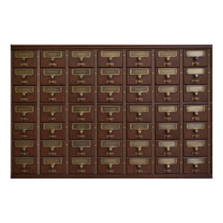 Vintage Library Card Catalog Drawers Poster