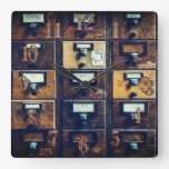Vintage library card catalog wood cabinet square wall clock