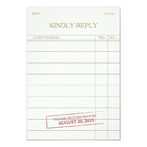 Vintage Library Card RSVP