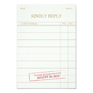 "Vintage Library Card RSVP 3.5"" X 5"" Invitation Card"