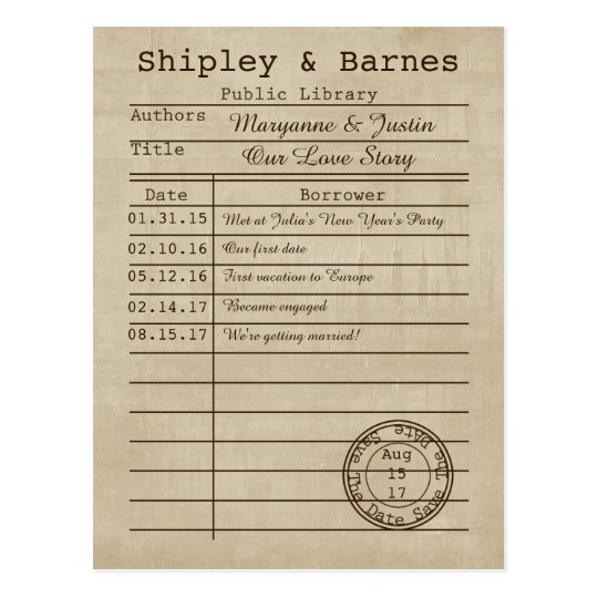 Vintage Library Card Save The Date | Zazzle