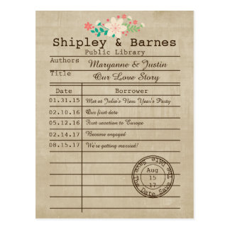 Vintage Library Card Wildflowers Save The Date