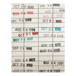 Vintage Library Due Date Cards