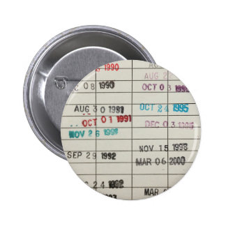 Vintage Library Due Date Cards 2 Inch Round Button