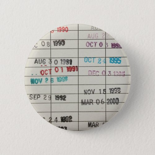 Vintage Library Due Date Cards Button