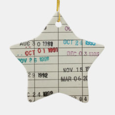 Vintage Library Due Date Cards Ceramic Ornament at Zazzle