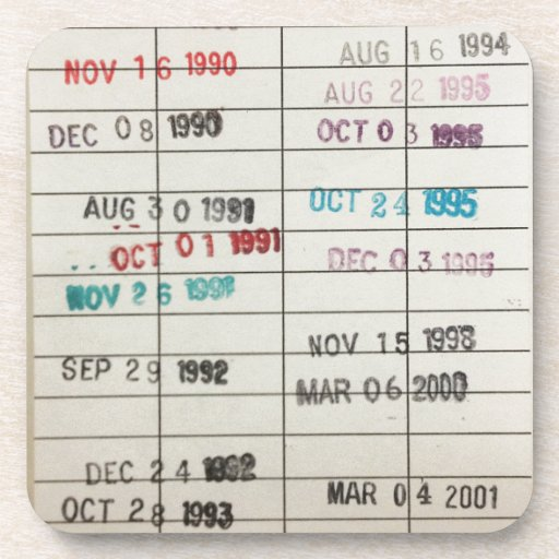 Vintage Library Due Date Cards Drink Coasters